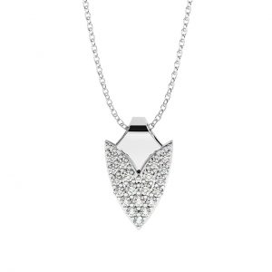 FNK662 Pave Set Round Brilliant Cut Diamond Pendant Necklace-1