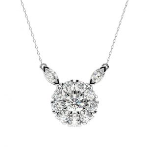 FP644 Prong Set Round Brilliant & Marquise Cut Diamond Pendant in White Gold (7)