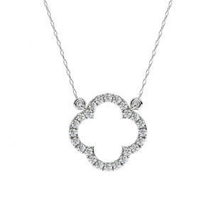 FP659 Fishtail Setting Round Brilliant Cut Diamond Pendant-1