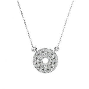 FP664 Fishtail Round Brilliant Cut Diamond Pendant-1
