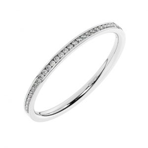 FR0796 Channel Set Round Brilliant Cut Diamond Half Eternity Ring-1