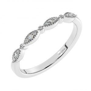 FR1804H40 Pave Set Round Brilliant Cut Diamond Half Eternity Ring-1