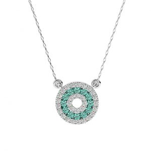 FP664 Pave Set Round Brilliant Cut Emerald Necklace in White Gold