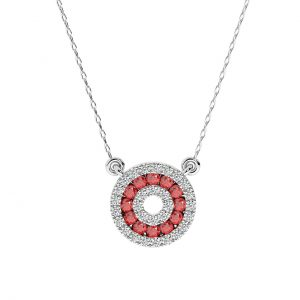 FP664 Pave Set Round Brilliant Cut and Rubi Necklace in White Gold