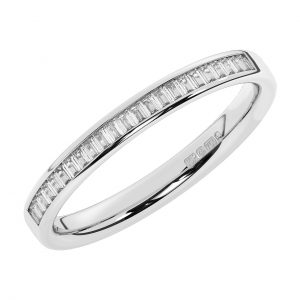 F2.5R1094 Baguette Cut Diamonds Half Eternity Ring White Gold -1
