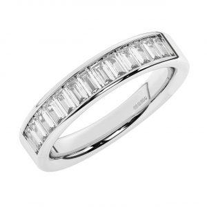 F5R1094 Baguette Cut Diamonds Half Eternity Ring White Gold -1
