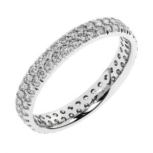 FR0757-3mm Double Row Round Brilliant Cut Diamonds Full Eternity Ring in White Gold-1