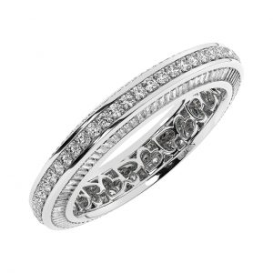 FR01146 1.50cts Bead & Bright-Cut, Channel Setting Round Brilliant & Baguette Cut Diamonds Full Eternity Wedding Ring in White Gold 1