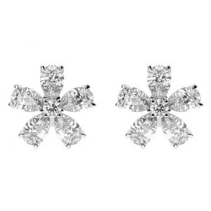 FE1179 2.75carat Round & Pear Shaped Diamonds Floral Earrings in 18K White Gold-2
