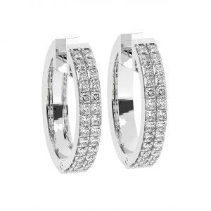 FE1181 Pave Set Princess Brilliant Cut Diamond Hoop Earrings-1