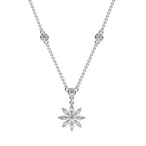 FNK214 2 Carat Claw Set Round Brilliant And Marquise Cut Diamond Necklace In White Gold-2