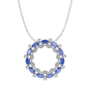 FP6612 1Carat Claw Set Round Briliant Cut Diamond And Blue Sapphire Pendent In White Gold-2