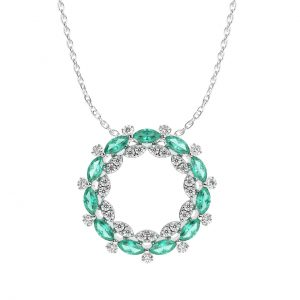 FP6612 1Carat Claw Set Round Briliant Cut Diamond And Emerald Pendent In White Gold-1