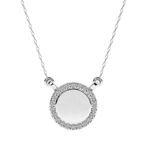 FP668 0.10 Carat Pave Set And Round Brilliant Cut Diamond Necklace In White Gold-2