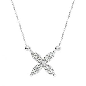 FP675 0.15 Carat Pave Set And Round brilliant Cut Diamond Necklace In White Gold-2