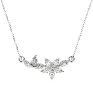 FP679 0.30 Carat Claw Set And Marquise Cut Diamond Necklace In White Gold-2