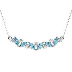 FP679 Claw Set Round Brilliant Cut Diamond & Aquamarine Pendant-1