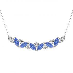 FP679 Claw Set Round Brilliant Cut Diamond & Blue Sapphire Pendant-1