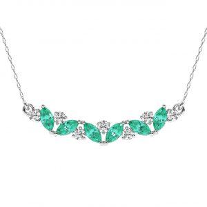 FP679 Claw Set Round Brilliant Cut Diamond & Emerald Pendant-1
