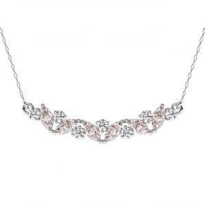 FP679 Claw Set Round Brilliant Cut Diamond & Pink Sapphire Pendant-1