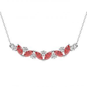 FP679 Claw Set Round Brilliant Cut Diamond & Ruby Pendant-1