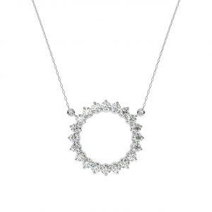FP681 Claw Set Round Brilliant Cut Diamond Pendant-1