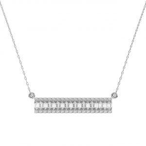 FP687 Prong Set Round Brilliant & Baguette Cut Diamond Pendant-1