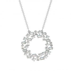 FP690 Claw Set Round Brilliant & Baguette Cut Diamond Pendant -1