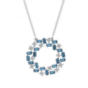 FP690A Claw Set Round Brilliant Cut Diamond & Aquamarine Pendant-1