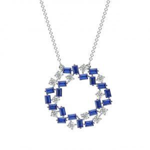 FP690B Claw Set Round Brilliant Cut Diamond & Blue Sapphire Pendant-1