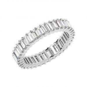FR1682 2 Carat Claw Set Emerald Cut Diamonds Full Eternity Wedding Ring In White Gold-1