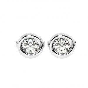 FE1203 Bezel Set Round Brilliant Cut Diamond Stud Earring-1