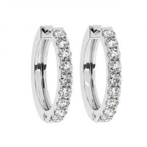 FE1206 Claw Set Round Brilliant Cut Diamond Hoop Earring-2