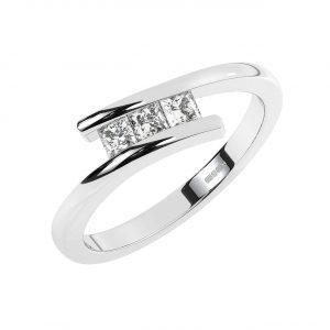 FR1943 Channel Set Princess Brilliant Cut Diamond Half Eternity Ring-1