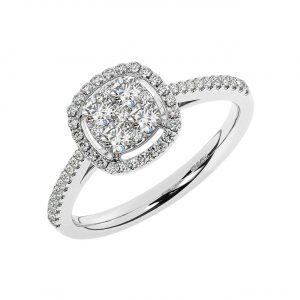 FR1946 Cluster Pave Set Round Brilliant Cut Diamond Half Engagement Ring-1