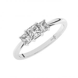 FR1951 Claw Set Princess Brilliant Cut Three Diamond Ring-1