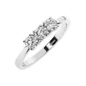 FR1986 Claw Set Round Brilliant Cut Diamond Half Eternity Ring-1
