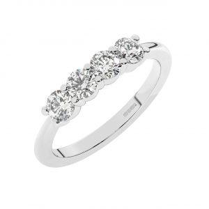 FR1986 Shared Prong Set Round Brilliant Cut Diamond Half Eternity Ring-1