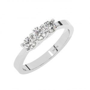 FR1993 Trellis Set Round Brilliant Cut Diamonds Trilogy Ring-1