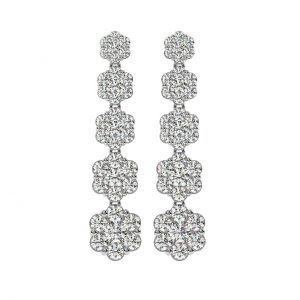 FE1095 1.0ct Cluster Set Round Brilliant Cut Diamonds Danglers Earrings-1