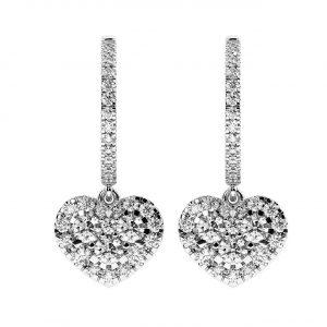 FE1207 Pave Set Round Brilliant Cut Diamonds Hoop Earrings-1