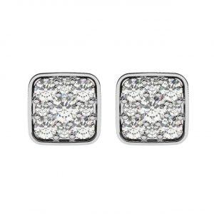 FE1607 0.30ct Pave Set Round Brilliant Cut Diamonds Square Earrings-1