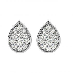 FE1608 0.32ct Pave Set Round Brilliant Cut Diamonds Pear Earrings-1