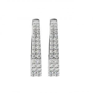 FE1891 0.75Carat Claw Set Round Brilliant Cut Diamond Hoop Earrings-2
