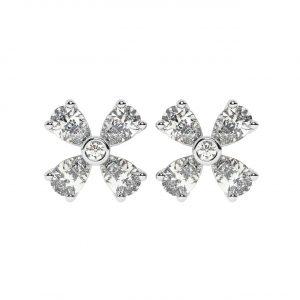 FE1892 0.42 CT Claw Set Pear & Round Brilliant Cut Diamond Stud Earrings-1