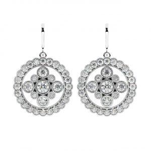 FE1895 Bezel Set Round Brilliant Cut Diamond Dangle Earrings-1