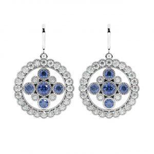 FE1895B Bezel Set Round Brilliant Cut Diamond With Blue Sapphire Dangle Earrings-1