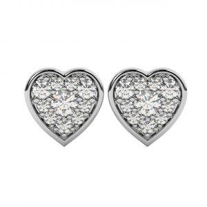 FE1906 0.20ct Pave Set Round Brilliant Cut Diamonds Heart Earrings-1