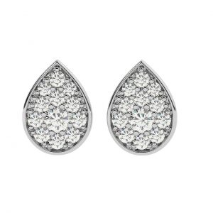 FE1909 0.40ct Pave Set Round Brilliant Cut Diamonds Marquise Earrings-1