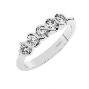 FR1968 0.30 Carat Half Bezel Set Round Brilliant Cut Diamonds Five Stone Ring-1